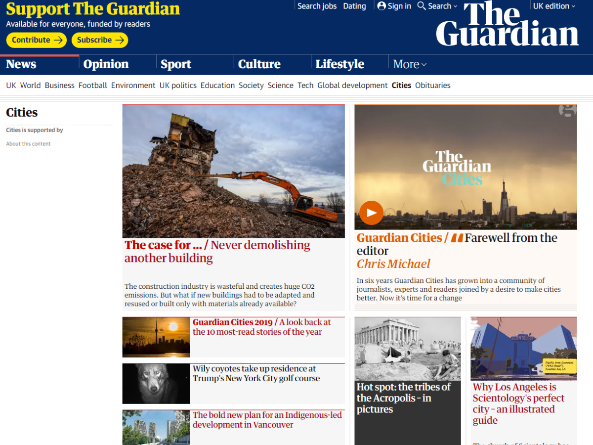 Guardian closes Cities section as non-profit funding ends after six years