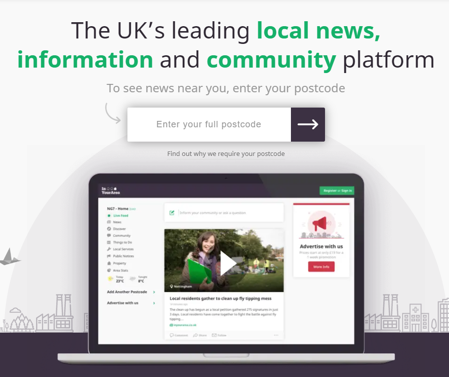 Reach to expand online hyperlocal news aggregator In Your Area with new jobs created
