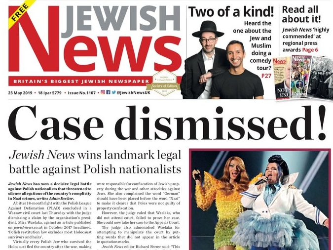 Jewish News wins legal case that 'threatened to silence allegations of historical anti-Semitism' in Poland
