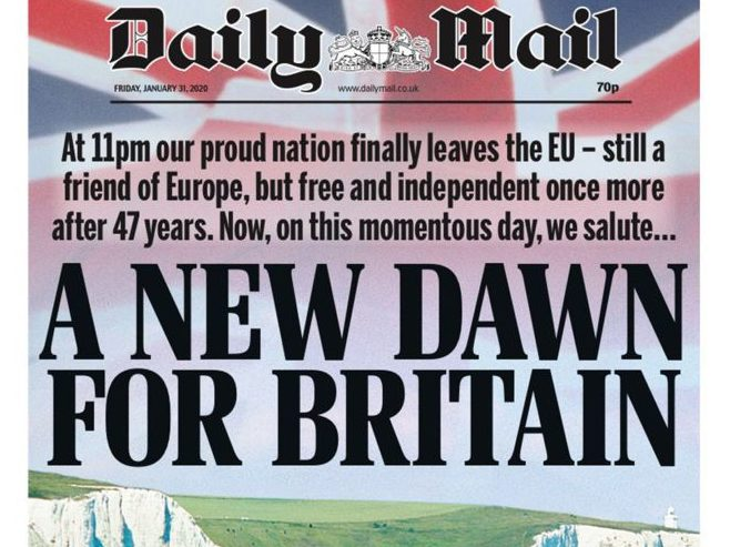How UK newspapers marked 'Brexit Day': A 'new dawn' for a 'small island'