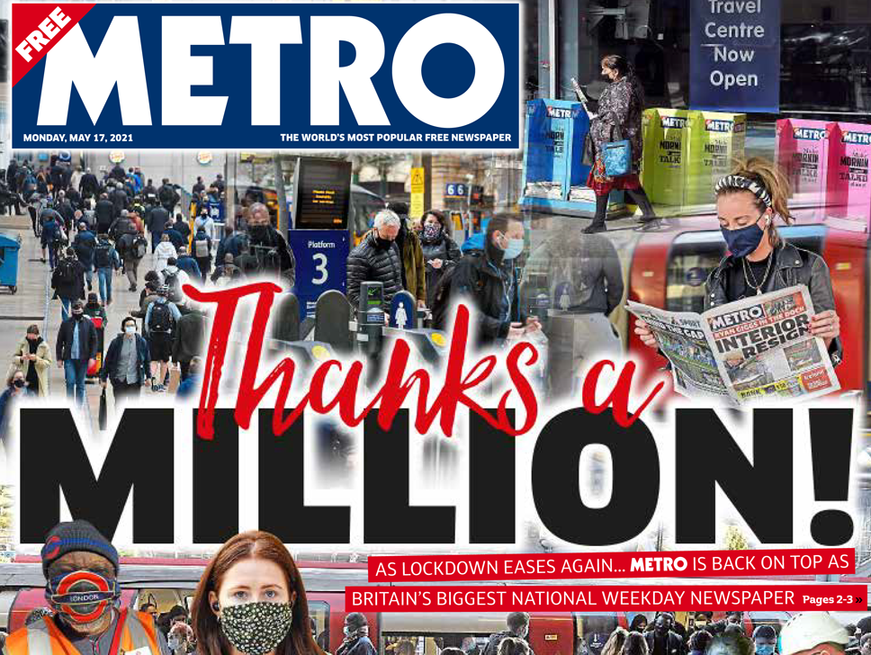 Metro editor Ted Young says title is 'building back' as it trumpets 1m copies milestone
