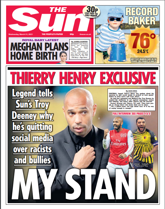 Sun leads publisher boycott of social media with four-day Twitter suspension in protest over racism