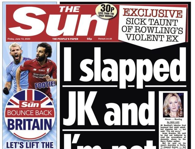 Sun: Not our intention to 'glorify' domestic abuse with JK Rowling splash