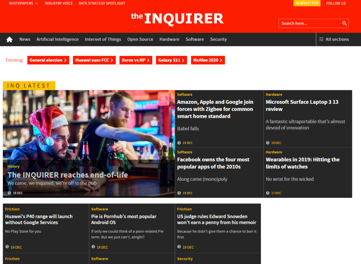 Tech news website The Inquirer ceases publishing as ad revenues struggle despite 'healthy' audience