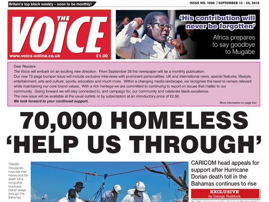 The Voice newspaper to go monthly after 37 years as weekly