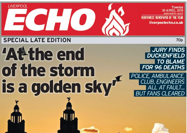 Liverpool Echo editor on Hillsborough coverage: Our focus was on marking the moment in the proper way