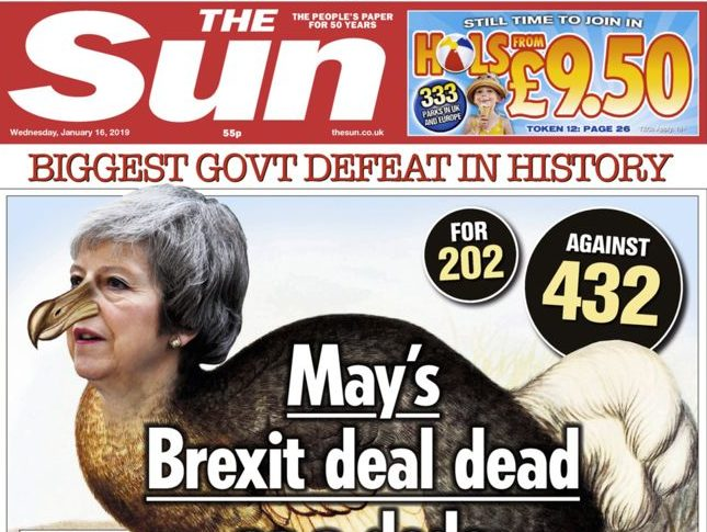 'Brextinct': Sun declares Theresa May's deal 'dead as a dodo' as papers weigh in on defeat