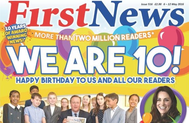 Duchess of Cambridge pays tribute to children's paper First News on title's tenth anniversary