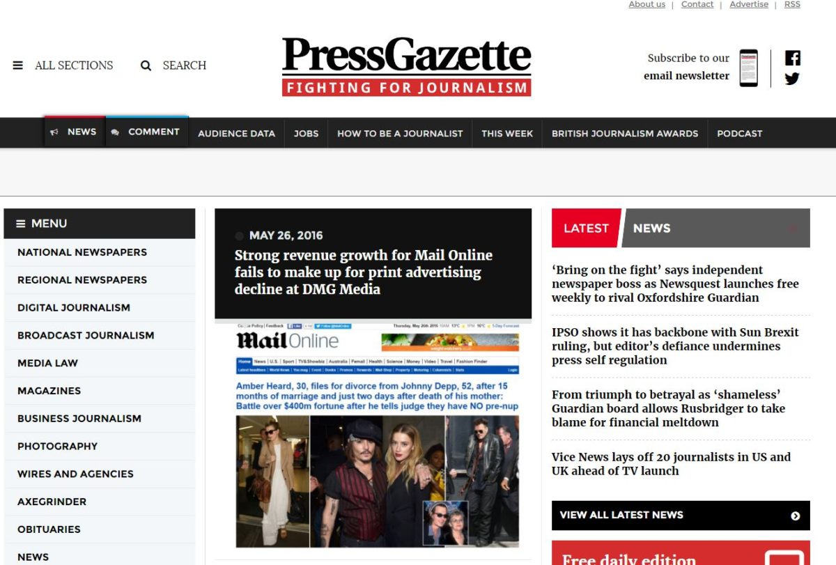 Press Gazette launches redesigned mobile-friendly website