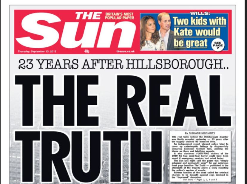The Sun and Hillsborough: Tabloid issued front-page apology in 2012 for its 'blackest day'