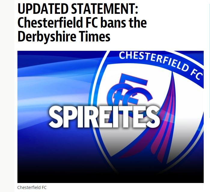 Chesterfield is latest football club to ban newspaper over negative coverage