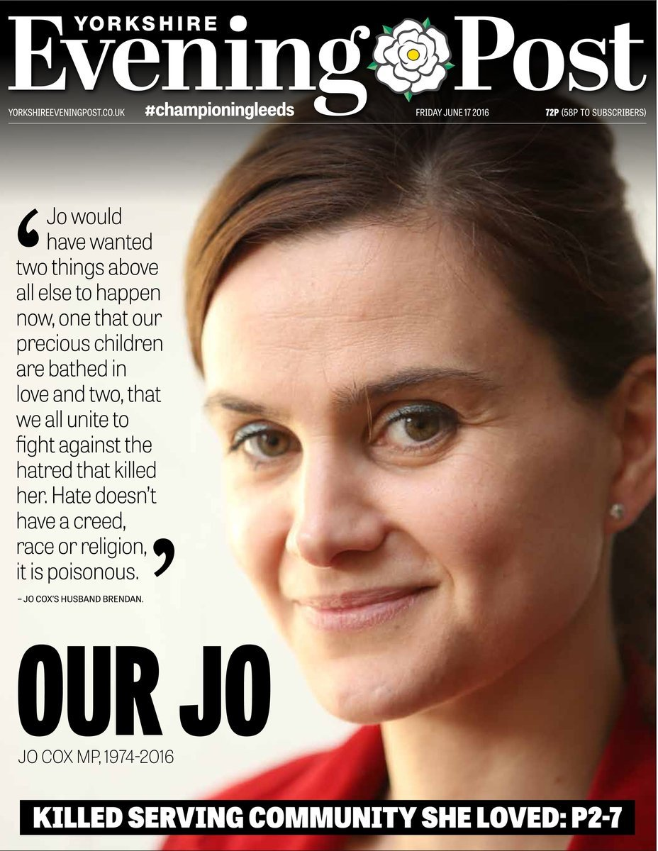 Yorkshire dailies' front page tributes to murdered MP Jo Cox as every national newspaper splashes on story