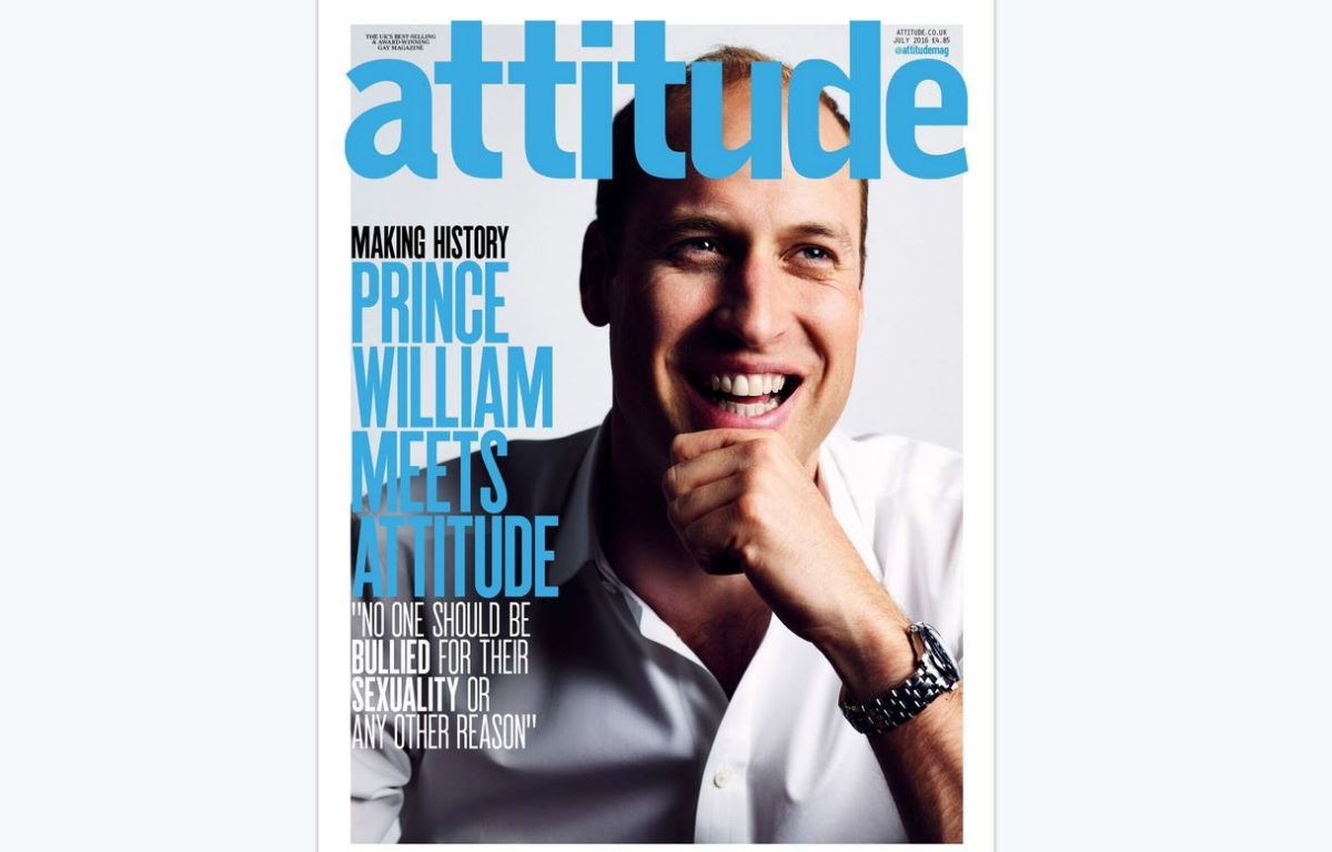 Prince William on front cover of gay magazine Attitude in first for British royals