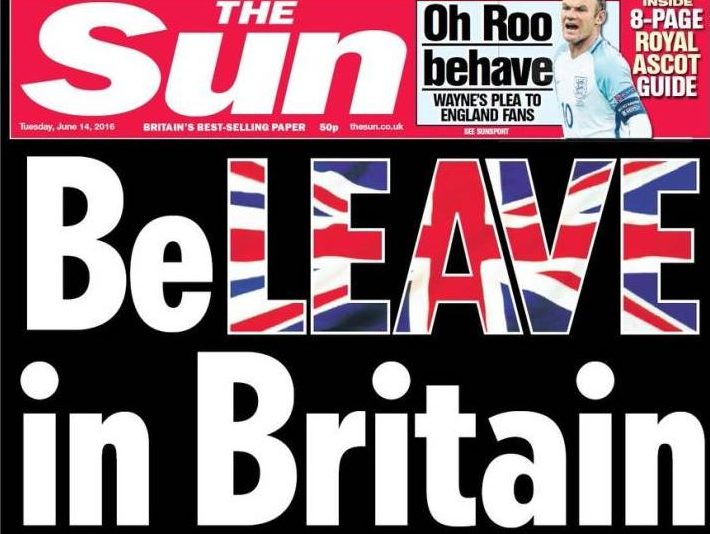 The Sun listed as £97,000 donor to Leave campaign after publishing 'BeLEAVE in Britain' pullout poster