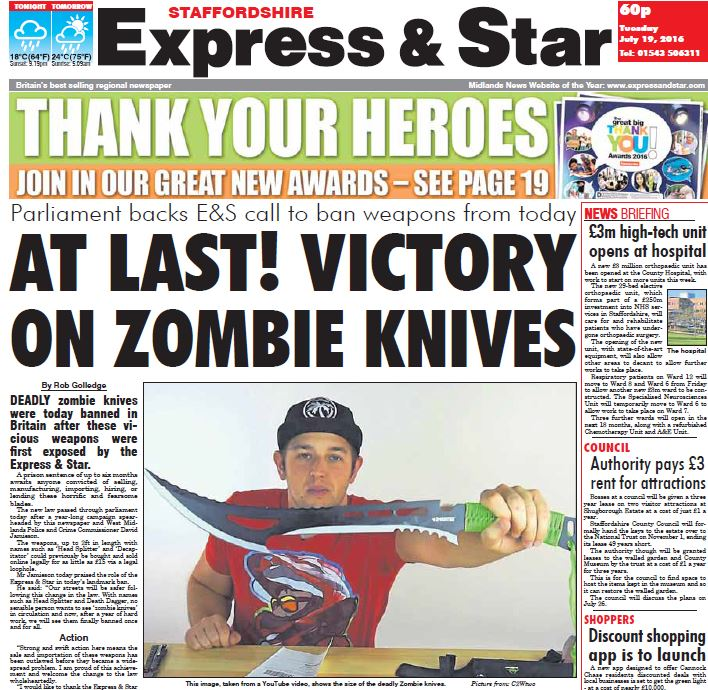 Express & Star campaign brings about law change banning 'zombie knives' from UK