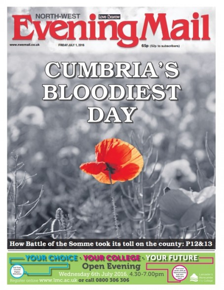 Northern dailies lead coverage of Somme centenary with poster front pages
