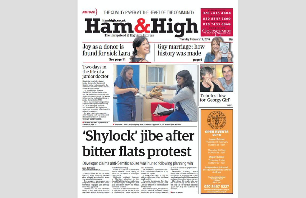 Ham & High told by IPSO to publish front-page correction over misleading 'Shylock jibe' splash