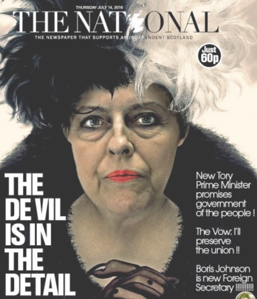 Scottish daily The National faces 'mysogyny' charge over front page likening Theresa May to Cruella de Vil