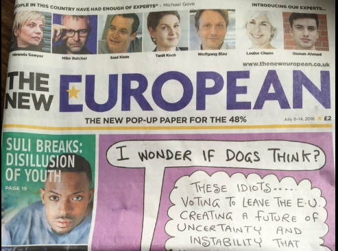 Editor of 'pop-up newspaper for the 48%' The New European hopeful it has a future