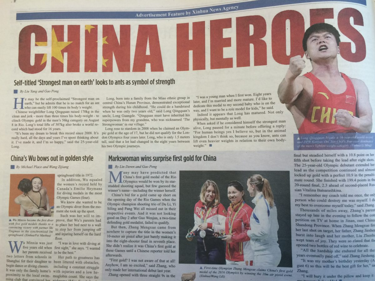 China's national news agency placed full-page advert celebrating its Olympic heroes in Times