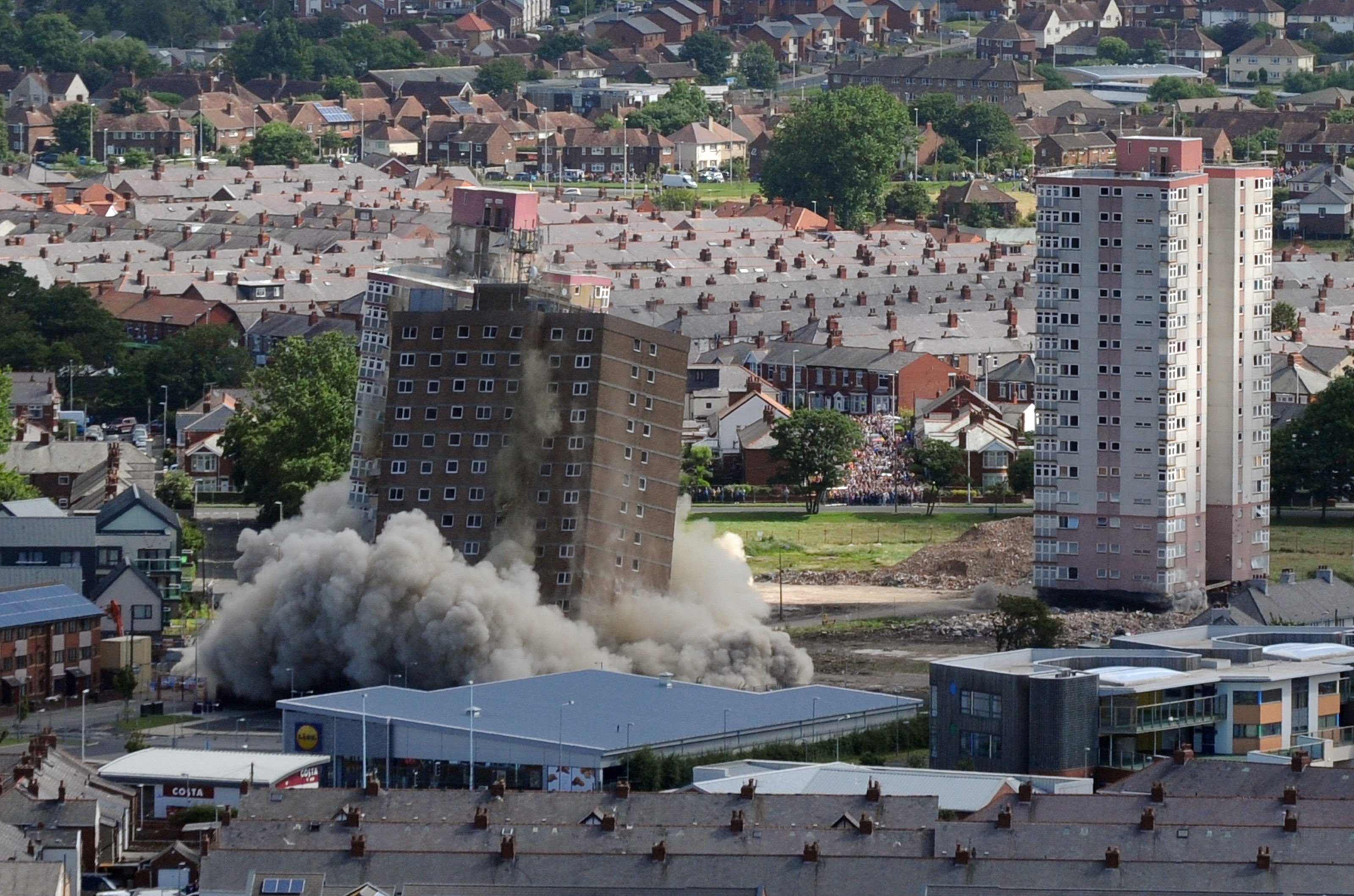 The demolition of Layton Flats in Blackpool. Picture: Johnston Press