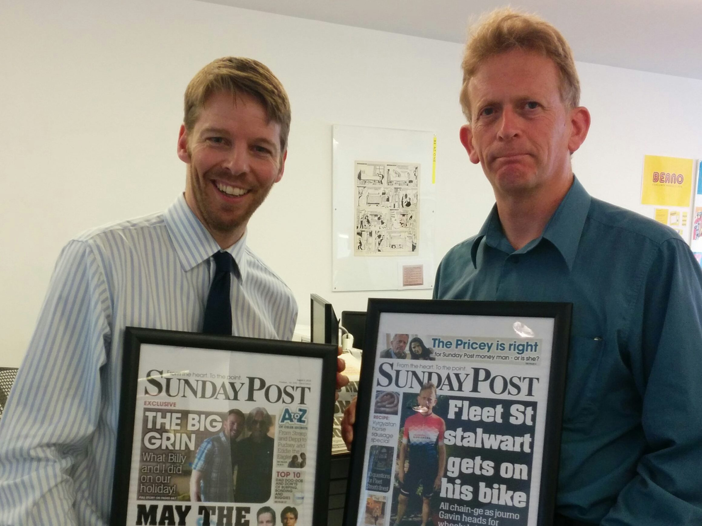 Darryl Smith left) and Gavin Sherriff with their farwell front pages