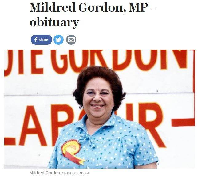 Telegraph's 244-word correction over MP Mildred Gordon obituary