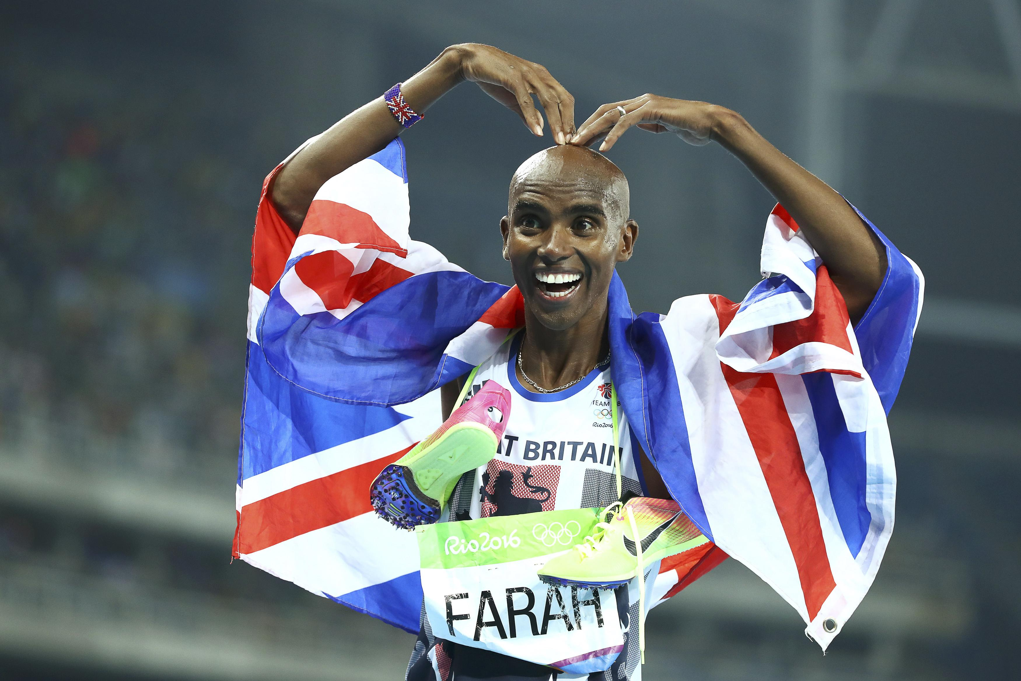 Mo Farah poses winning the gold. Picture: Reuters/Lucy Nicholson