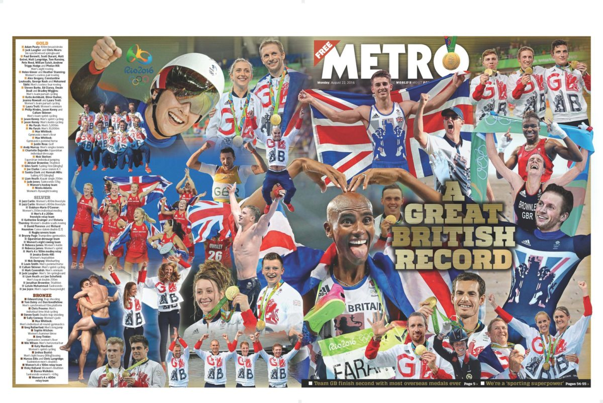 Rio Olympics: Team GB take front pages for record medal haul
