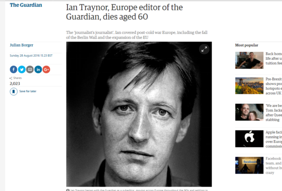 Tributes to Guardian's 'brilliant' Europe editor Ian Traynor who has died aged 60