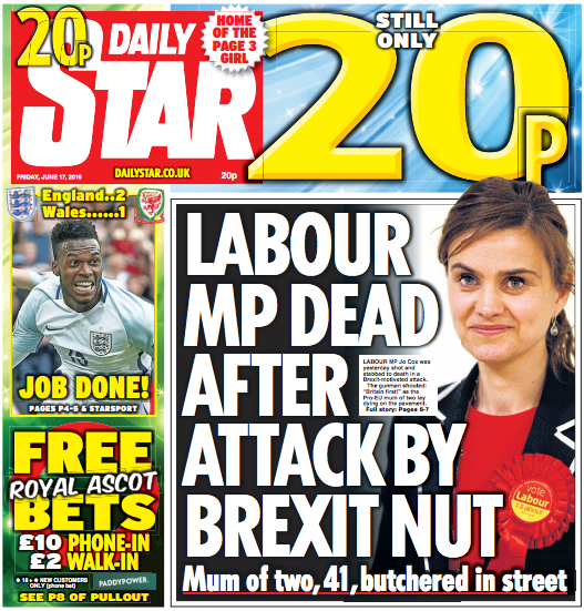 Daily Star's 'Brexit Nut' front page over Jo Cox killer cleared by IPSO after more than 300 complaints