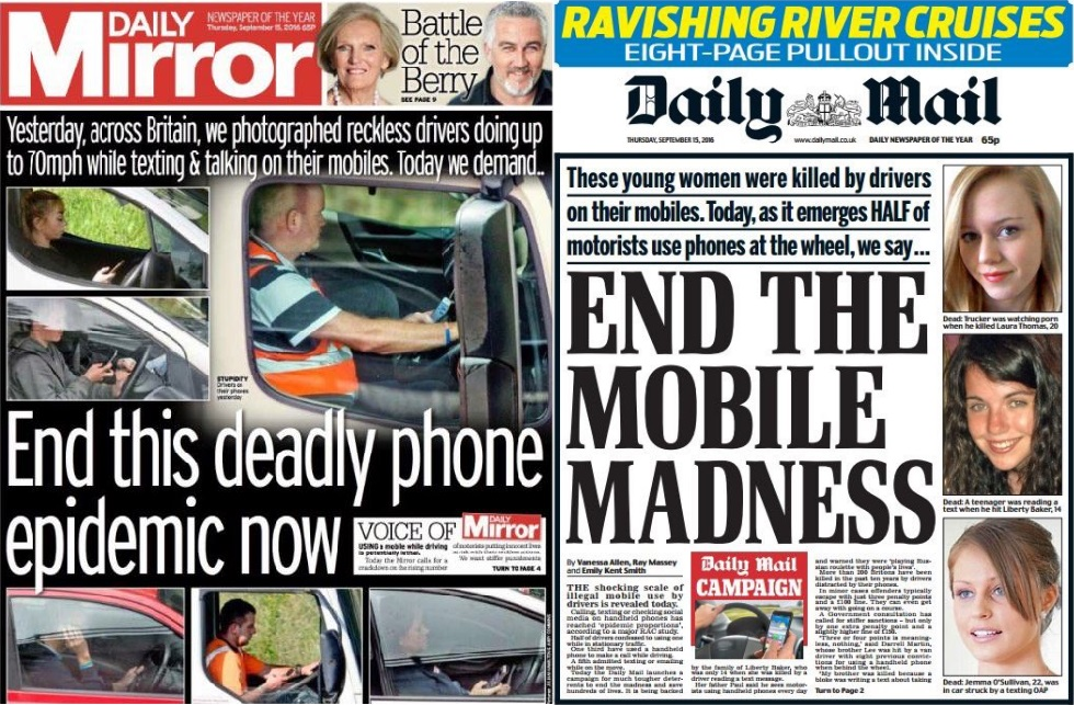 Mirror and Mail front pages both launch campaigns against using mobiles while driving