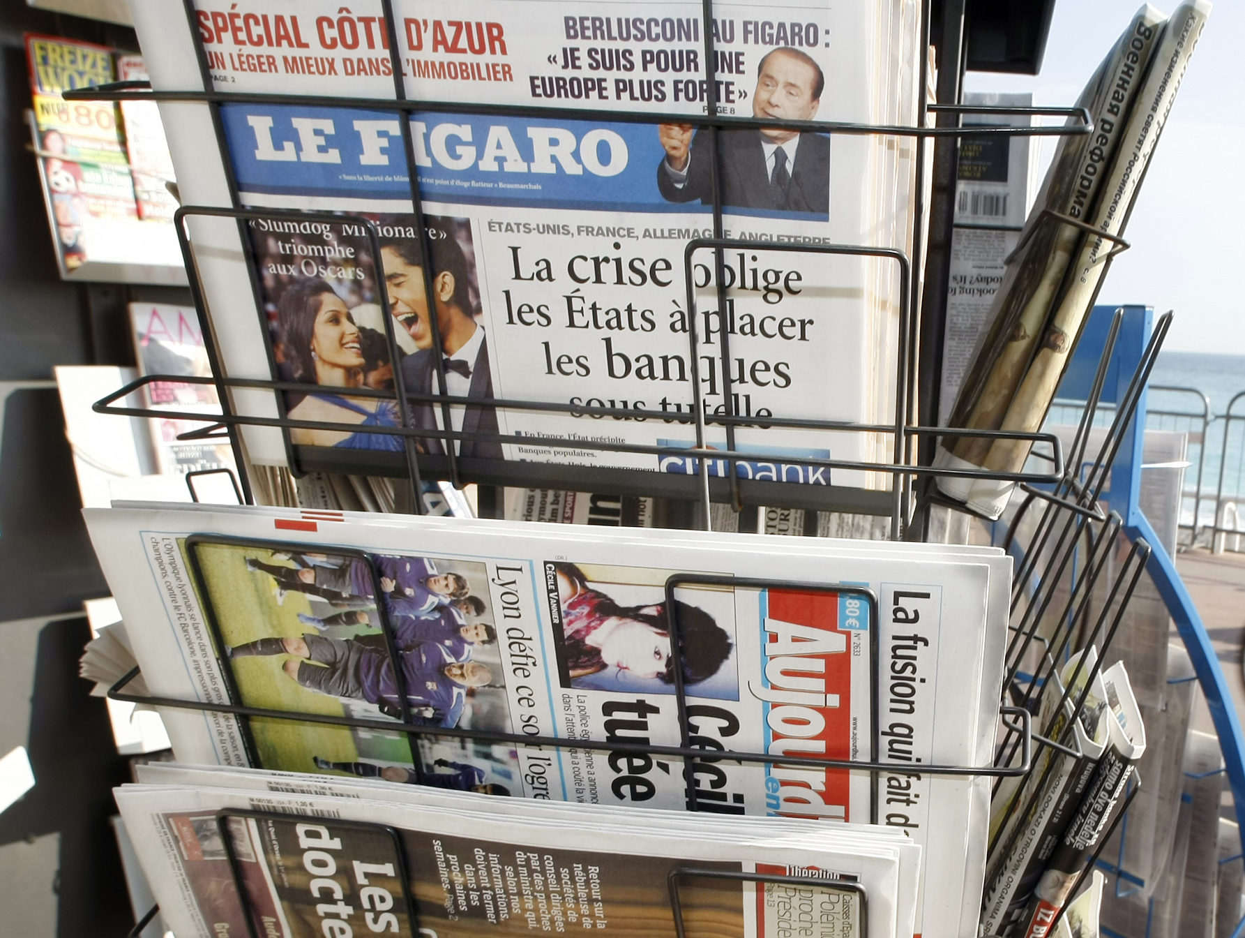 A newsstand with French daily newspapers in France. Picture: Reuters/Eric Gaillard