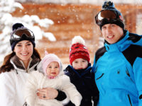 The Duke and Duchess of Cambridge with their children, Princess Charlotte and Princess George, during short private break skiing in the French Alps, the Cambridge's first family holiday. Picture: John Stillwell/PA Wire