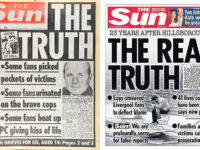 The Sun headline after Hillsborough, left, and 23 years on after the revelations of the Hillsborough Independent Panels report