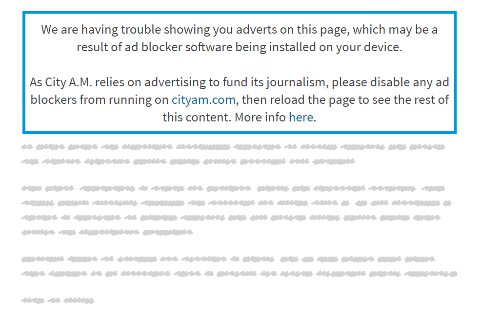More than two thirds of ad-blocker users turn them off for City AM