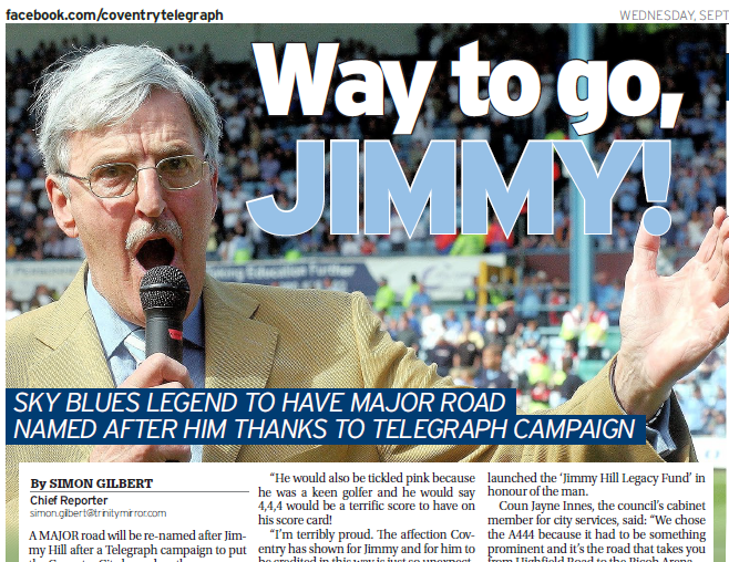 Coventry Telegraph celebrates campaign victory as A444 is renamed Jimmy Hill Way