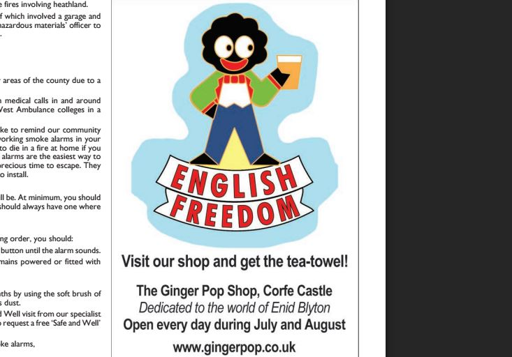 Monthly Purbeck Gazette banned from showing advert with 'offensive' golly image