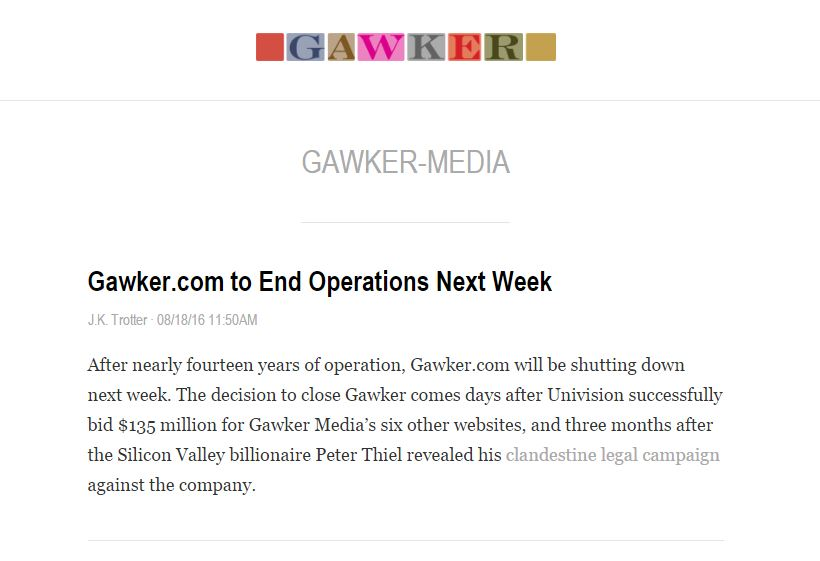 Land of the free? Gawker Media's new owner deletes six 'true and accurate' stories because of 'frivolous' lawsuits