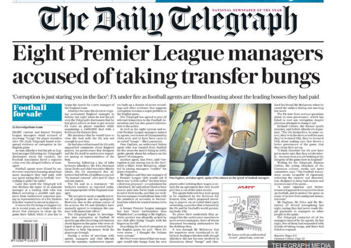 Police launch investigation into one suspected offence of bribery after Telegraph football corruption revelations