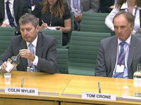 Former News of the World editor Colin Myler, left, and former News International legal manager Tom Crone sit before a parliamentary committee in London in 2011. Picture: Reuters/Parbul TV via Reuters TV