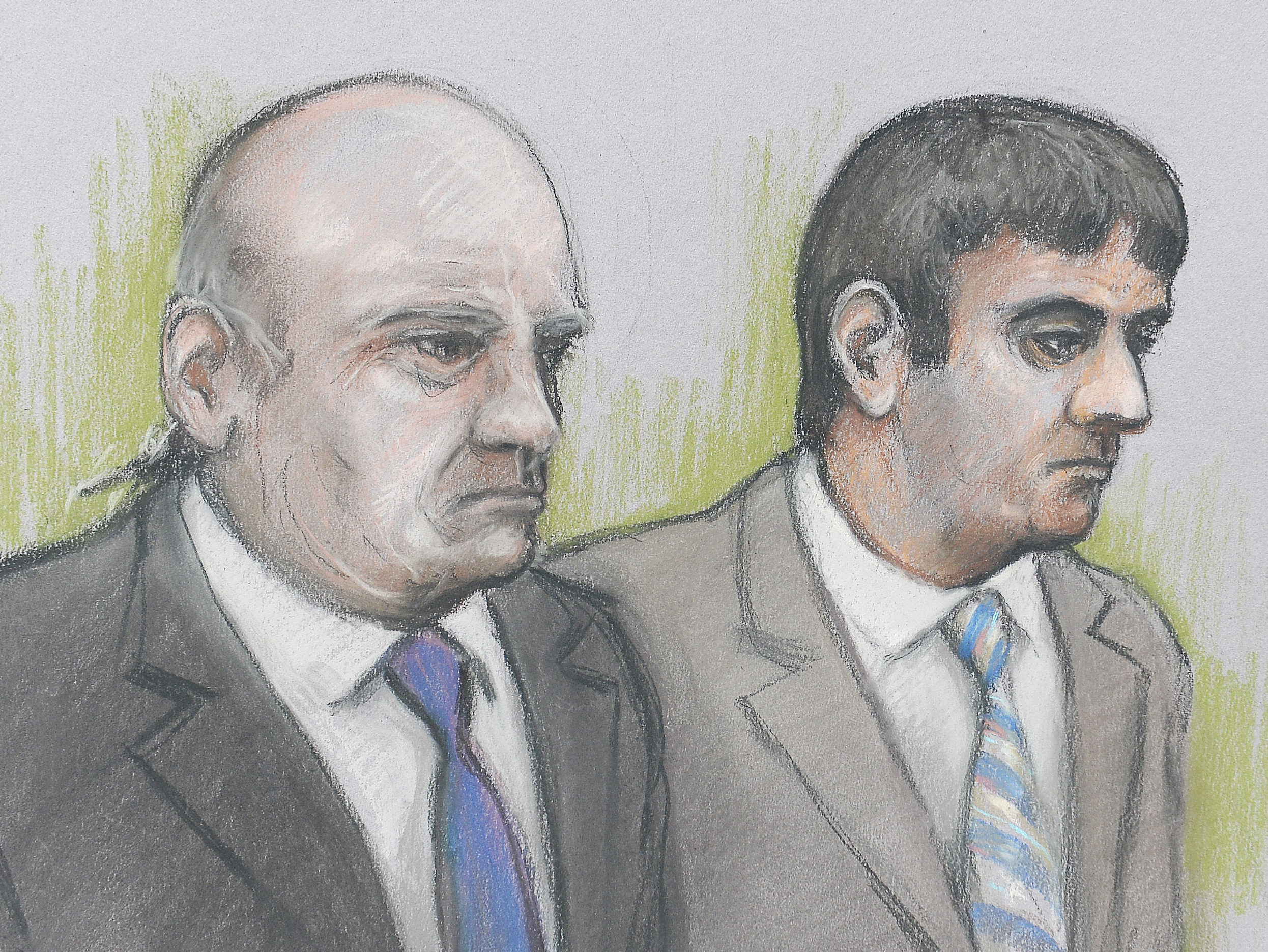 An artists sketch of Alan Smith (left) and Mazher Mahmood by court artist Elizabeth Cook. Picture: Elizabeth Cook/PA Wire