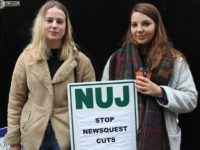 Staff on strike outside the Newsquest office in Sutton