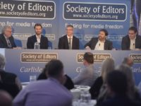 Speakers at the Society of Editors conference, from left, media commentator Ray Snoddy, editor of the BBC Journalism Working Group Matthew Barraclough,,  Johnston Press editor-in-chief Jeremy Clifford, NAPA chairman Jon Harris and digital publishing director of Trinity Mirror Regionals David Higgerson