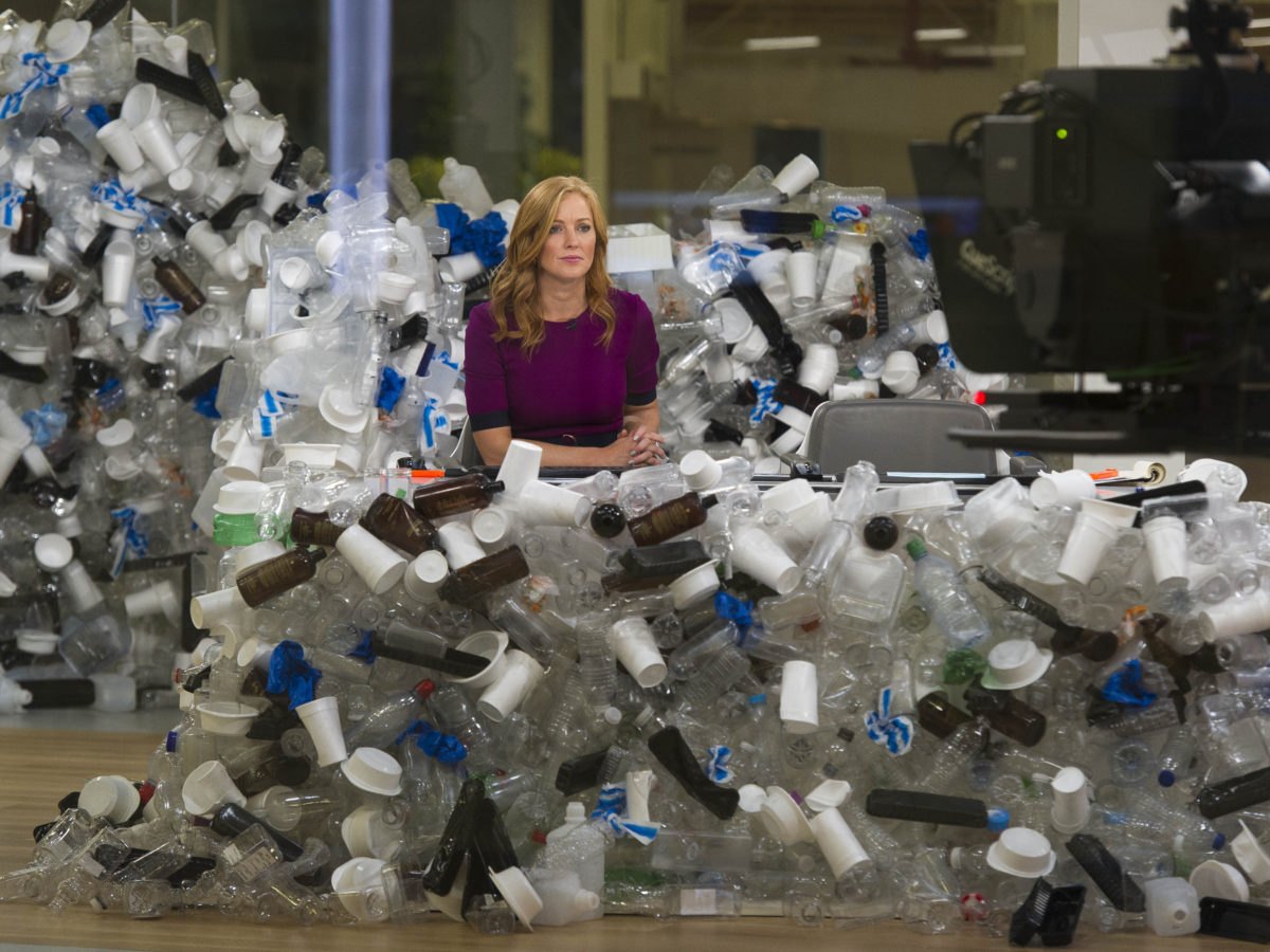 Sky News studio filled with rubbish for launch of broadcaster's campaign to reduce plastic waste