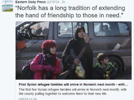 Eastern Daily Press says sorry for using image of woman holding AK47 with story about refugee families coming to Norwich