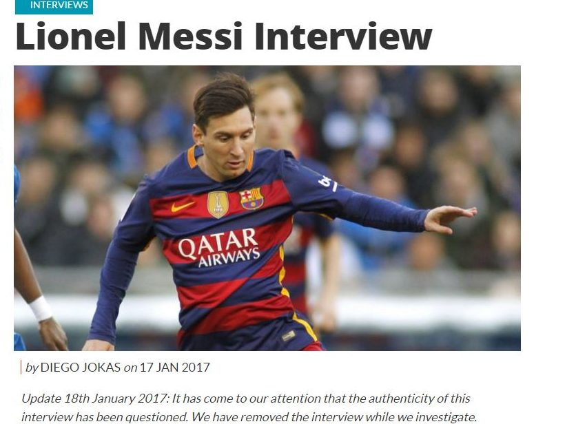 Coach magazine pulls Lionel Messi interview over authenticity doubts