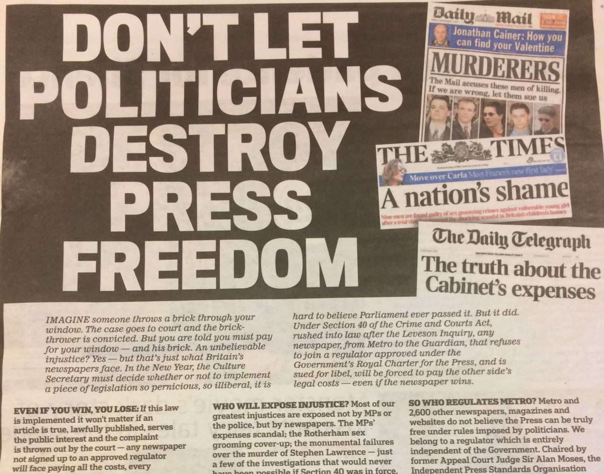 Metro uses 'first ever' leader column to oppose Section 40 law, calling it 'clearly nuts'