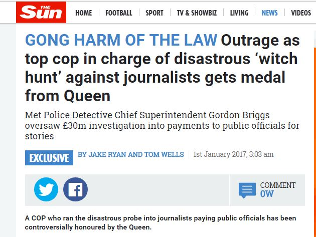 Sun condemns awarding of Queen's Police Medal to officer who oversaw Operation Elveden 'fiasco'