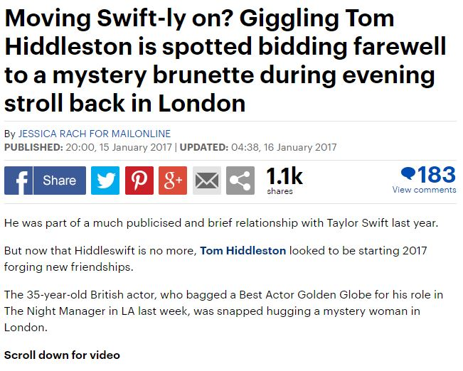 Mail and Mirror are only ones baffled by Hiddleston